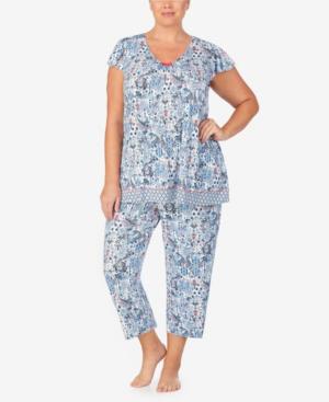 Ellen Tracy Women's Plus Size Short Sleeve Pajama Top In Blue Paisley