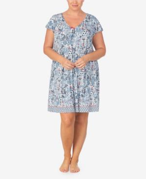Ellen Tracy Women's Plus Size Short Sleeve Chemise In Blue Paisley