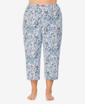 Ellen Tracy Women's Plus Size Cropped Pajama Pant In Blue Paisley