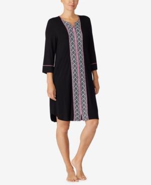 Ellen Tracy Women's Short Zip Front Robe In Black Border