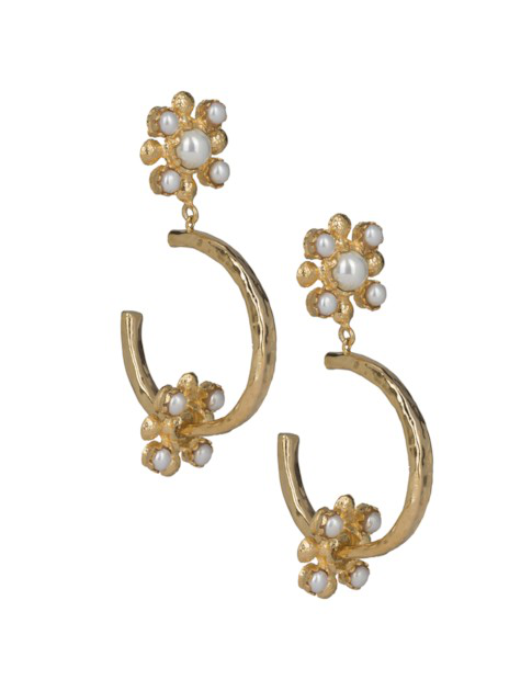 Christie Nicolaides Giovanna Hoops Pearl In Gold
