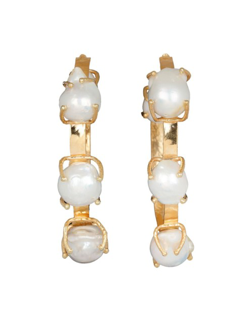 Christie Nicolaides Ingrid Hoops Gold/pearl