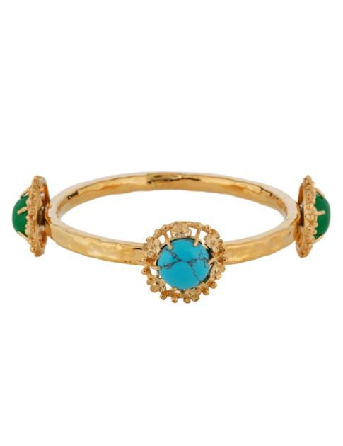 Christie Nicolaides Balbina Bangle Turquoise/multi In Gold