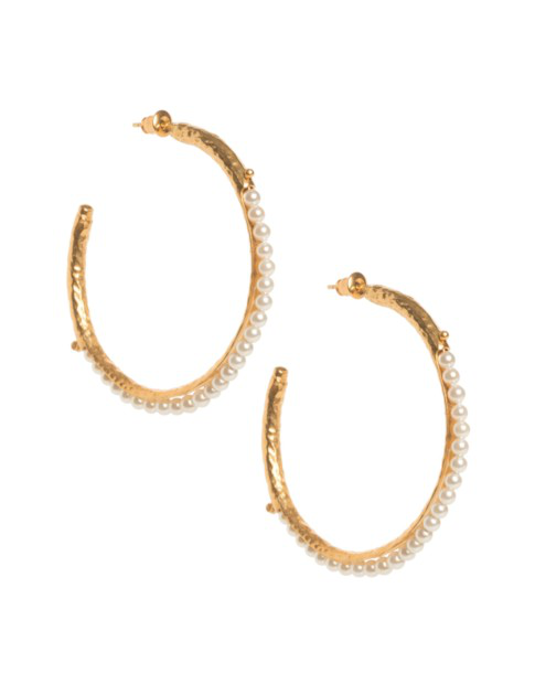 Christie Nicolaides Frida Hoops Pearl In Gold