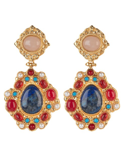 Christie Nicolaides Madelina Earrings Lapis In Gold