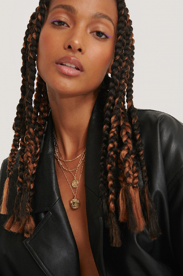 Na-kd Double Coin Drop Layered Necklace Gold