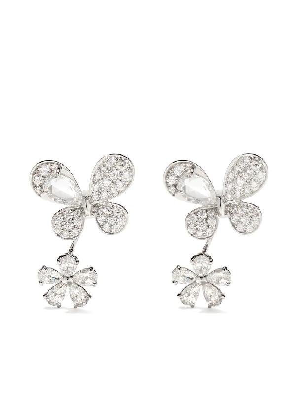 David Morris 18kt White Gold Pixie Diamond Earrings