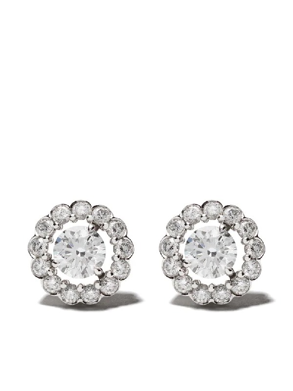 David Morris 18kt White Gold Elizabeth Single Stone Diamond Stud Earrings