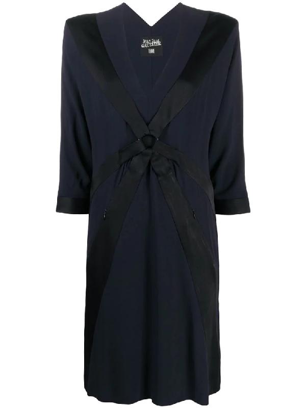 Jean Paul Gaultier V-neck Shift Dress In Black
