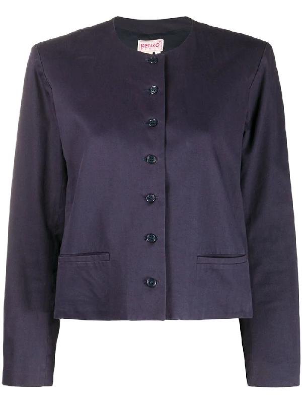 Kenzo Single-breasted Jacket In Blue