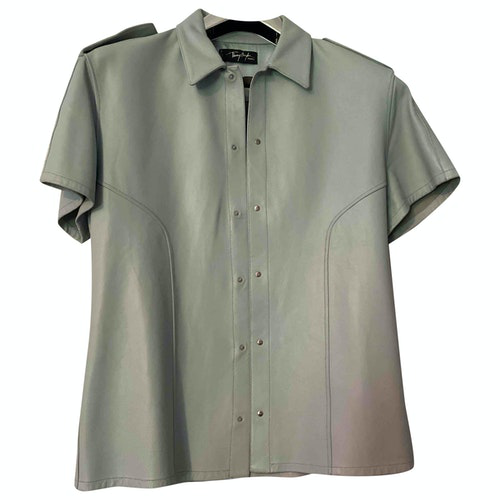 Mugler Blue Leather Shirts