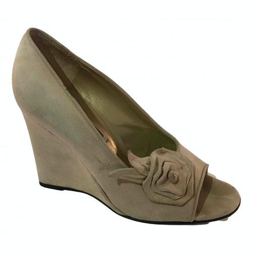 Versace Beige Suede Sandals