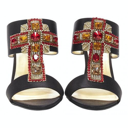 Versace Black Cloth Sandals