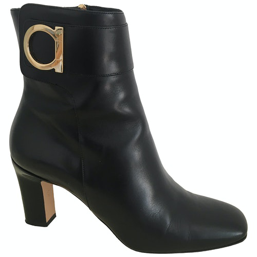 Salvatore Ferragamo Black Leather Ankle Boots