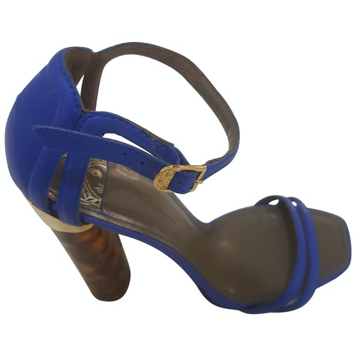 Versace Blue Exotic Leathers Sandals