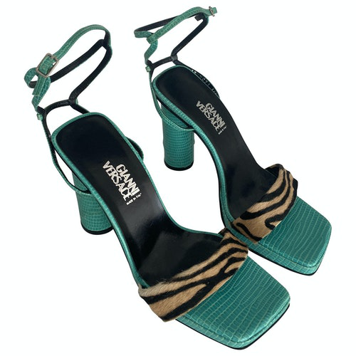 Versace Turquoise Leather Sandals