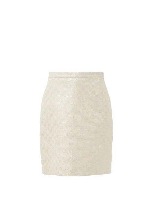 Gucci Gg Light Lamé Wool Blend Mini Skirt In White