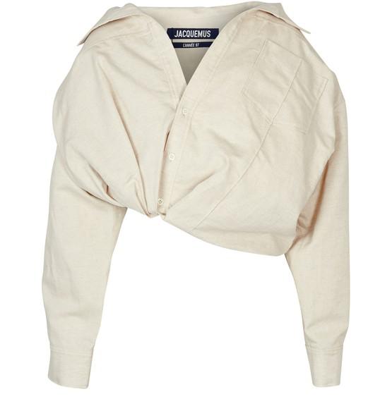 Jacquemus Mejean Tuck Hem Crop Cotton & Linen Shirt In Neutrals