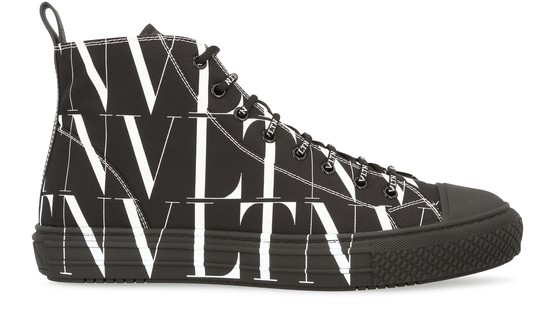 Valentino Garavani Garavani Vltn Times Giggies High-top Fabric Sneaker In Black