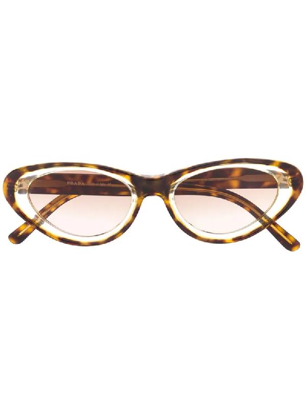 Prada 1990er Cat-eye-sonnenbrille In Schildpattoptik In Brown