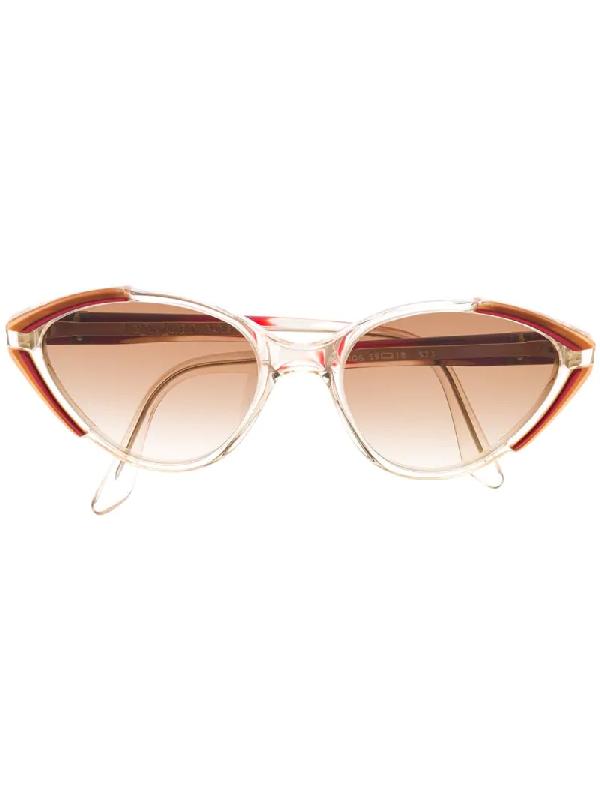 Saint Laurent 1990s Cat-eye Gradient Sunglasses In Neutrals