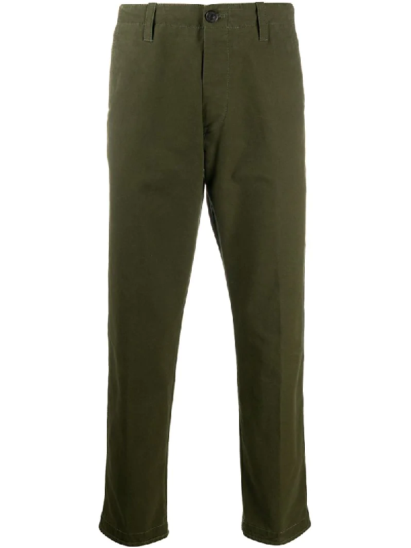 Pt01 Straight-leg Cotton Trousers In Green