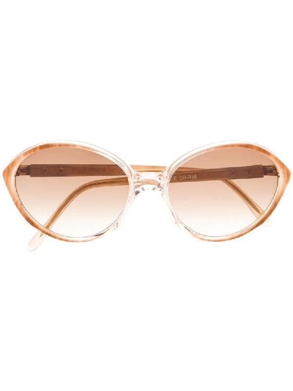 Saint Laurent 1980s Oval-frame Sunglasses In Orange