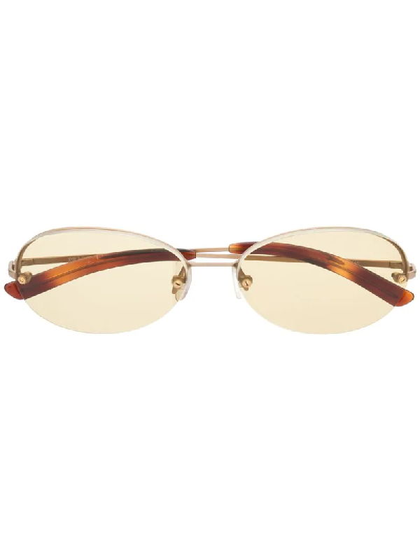 Prada 1990s Tinted Rounded Sunglasses In Gold