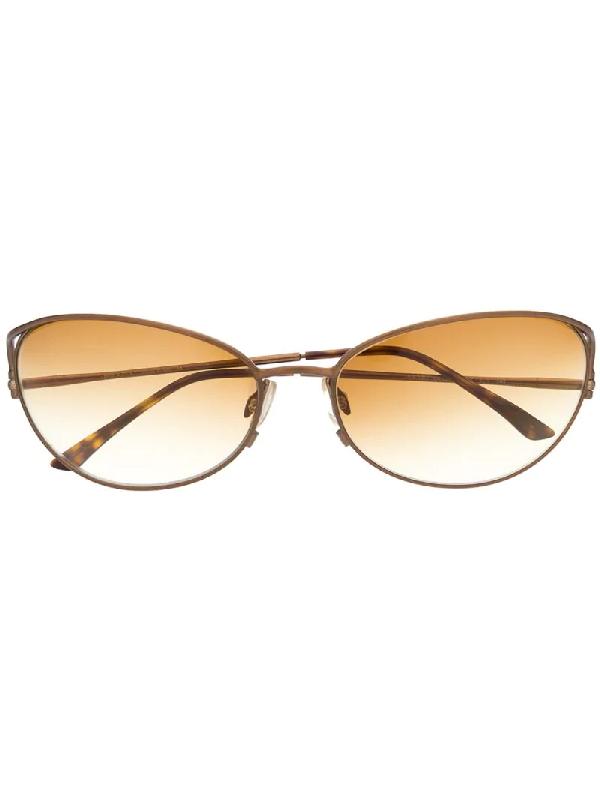 Prada 2000s Cat-eye-sonnenbrille In Schildpattoptik In Yellow