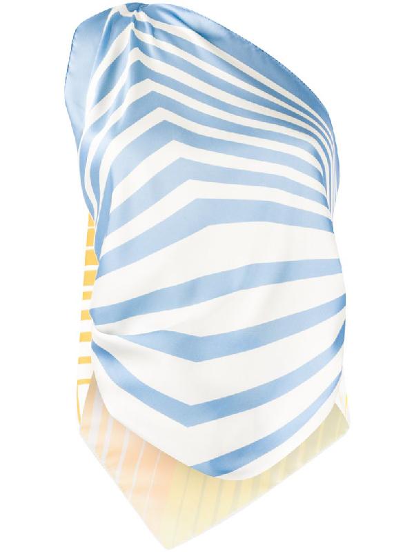 Jejia Asymmetric Scarf Top In Blue