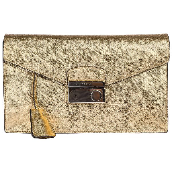 Prada Space Plein Clutch Bag In Platino