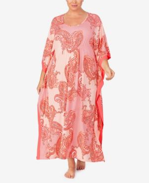 Ellen Tracy Women's Plus Size Long Caftan In Coral Paisley