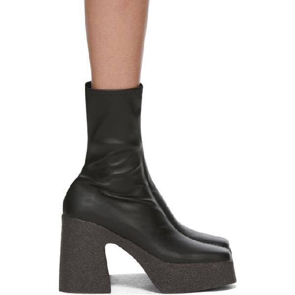 Stella Mccartney Women's Block Heel Platform Booties In 1000 Black