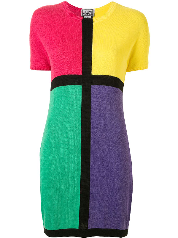Versace Colour Block Knitted Dress In Multicolour