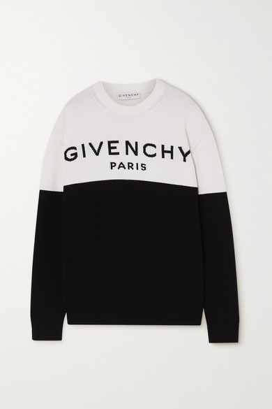Givenchy Intarsia Logo Colorblock Cashmere Sweater In Black