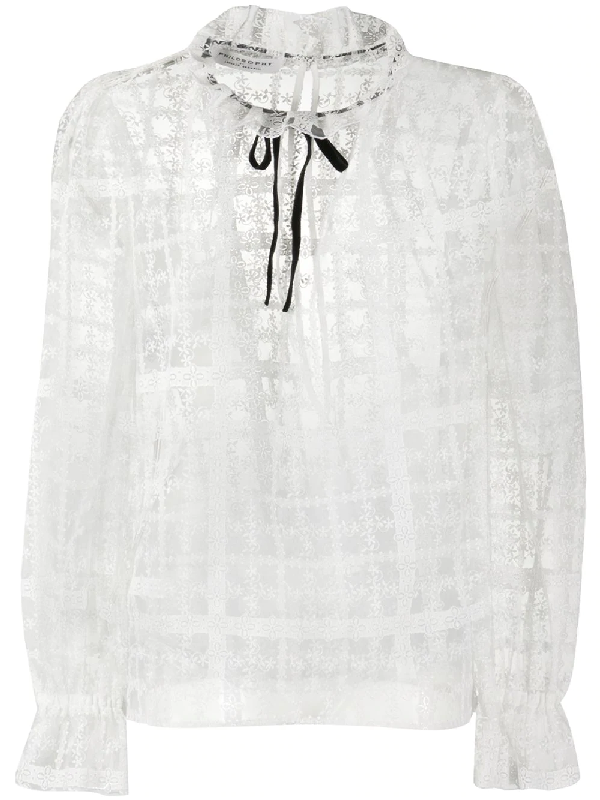 Philosophy Checked Floral-lace Blouse In White