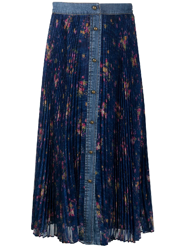 Philosophy Floral-print Pleated Skirt In Blue