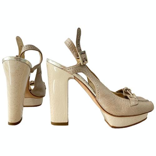 Versace Beige Leather Sandals