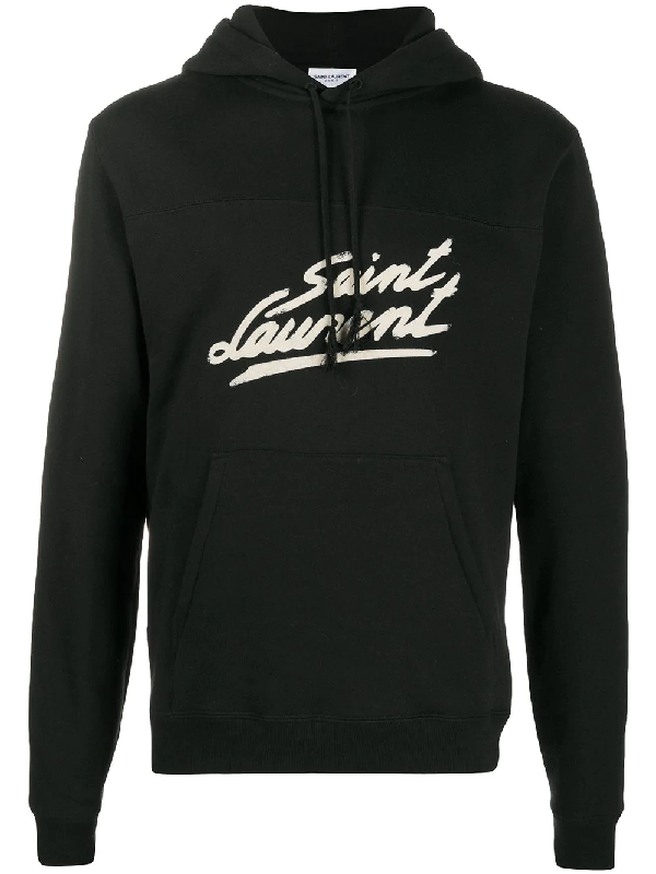 Saint Laurent Logo-print Fleece-back Cotton-jersey Hoodie In Black