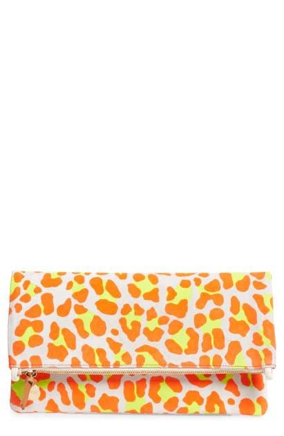 Clare V Suede Foldover Clutch In Orange