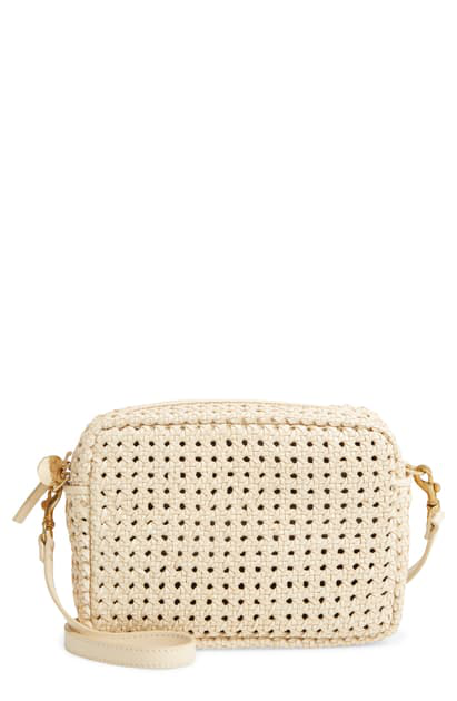 Clare V Midi Sac Woven Leather Crossbody Bag In White