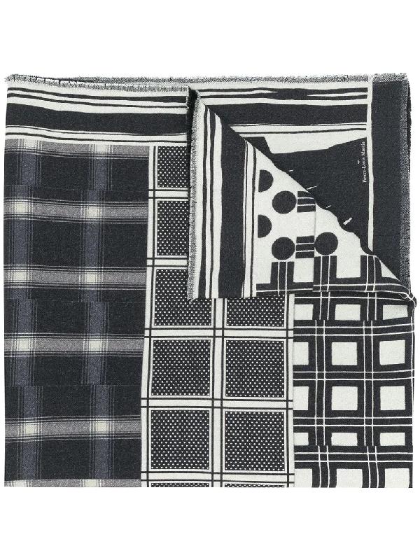 Pierre-louis Mascia Mix-print Wool Scarf In Black