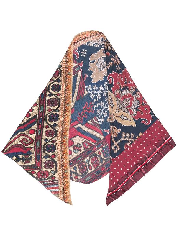 Pierre-louis Mascia Mix-print Silk Scarf In Red