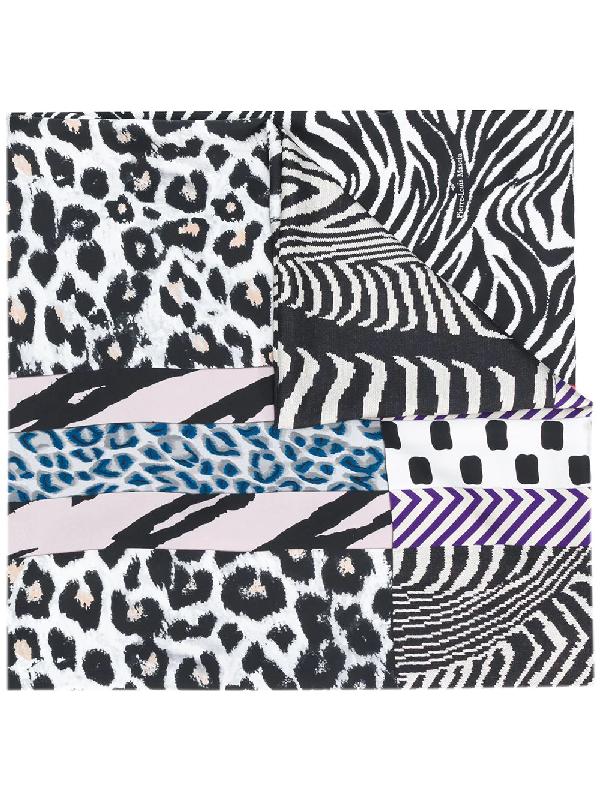 Pierre-louis Mascia Animal-print Silk Scarf In Black