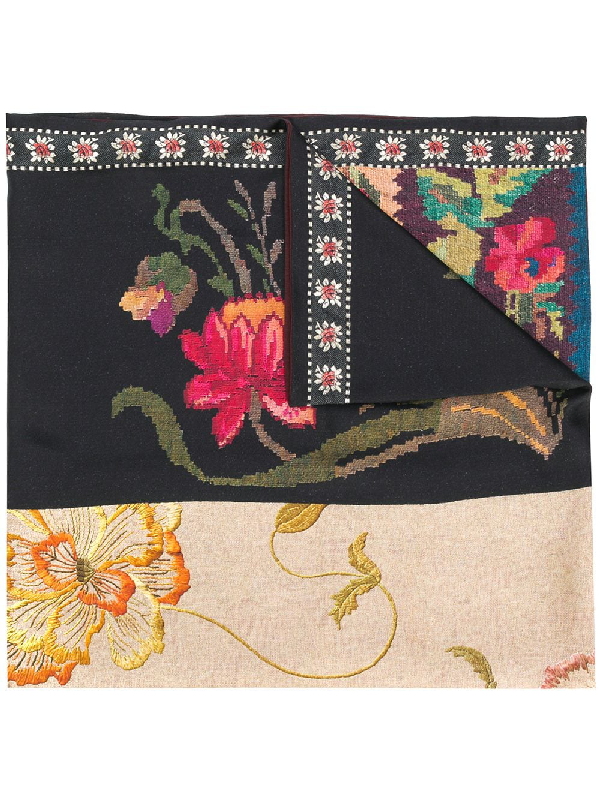 Pierre-louis Mascia Floral-print Silk Scarf In Neutrals