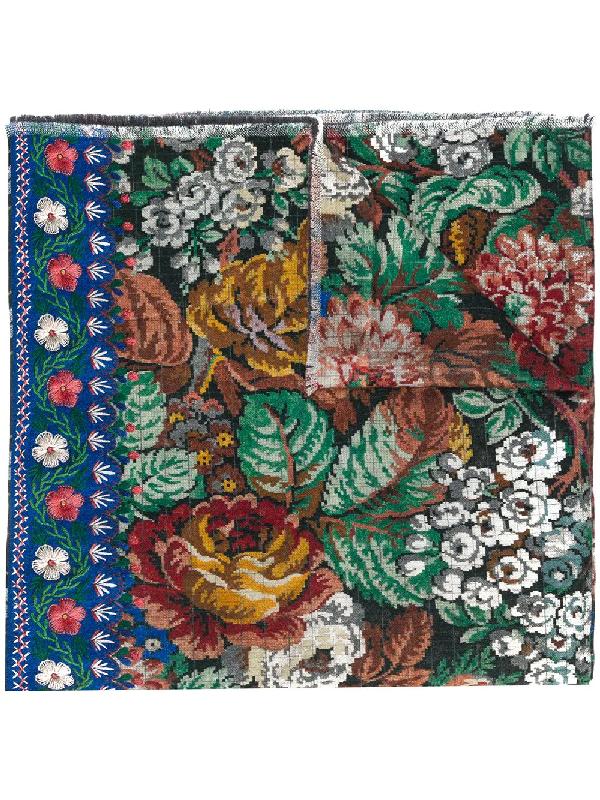 Pierre-louis Mascia Floral-print Wool Scarf In Green