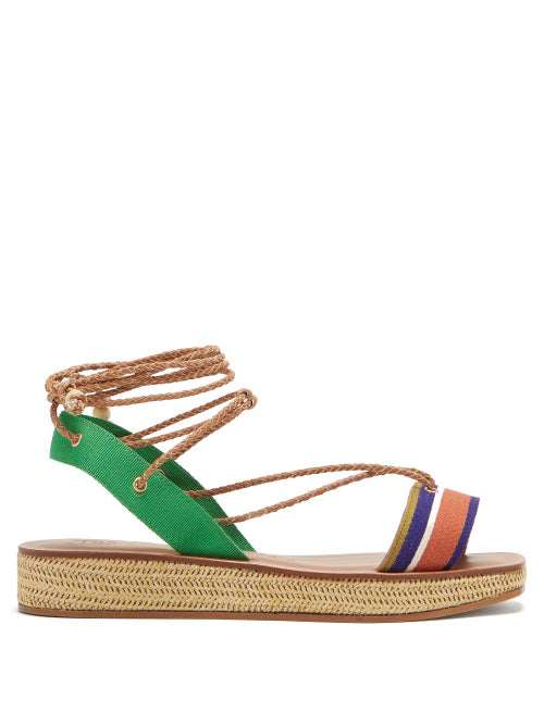 Álvaro González X Thierry Colson Tolga Wicker Flatform Sandals In Tan Multi