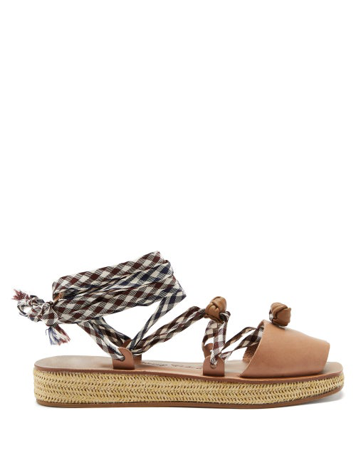 Álvaro González X Thierry Colson Tallulona Wicker Flatform Sandals In Tan Multi