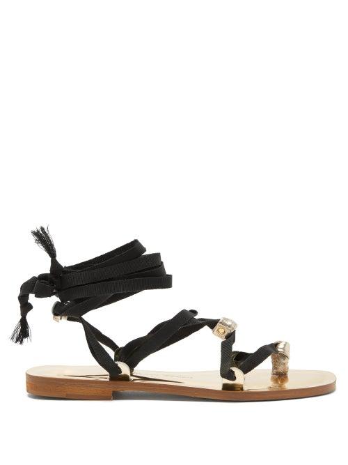 Álvaro González X Thierry Colson Tallula Metallic-leather Sandals In Black Gold