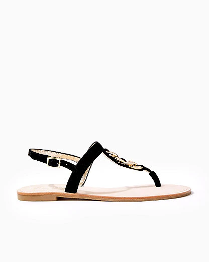 Lilly Pulitzer Largo T-strap Suede Sandal In Onyx